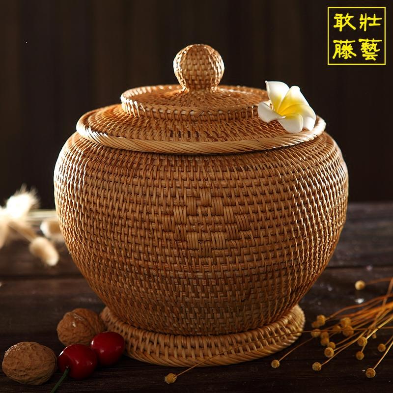 藤编茶叶罐 干货收纳储存罐宝瓶散茶罐 越南藤手工糖果干果收纳罐