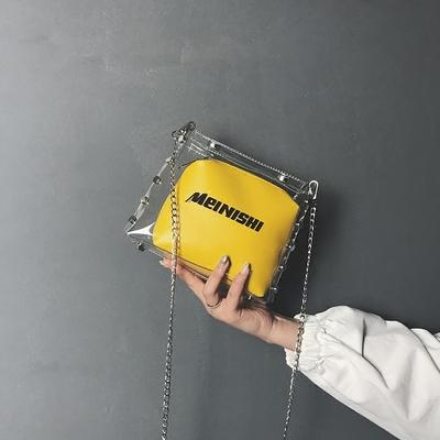 夏季透明果冻包包女2018新款潮韩国百搭迷你少女链条单肩斜跨小包