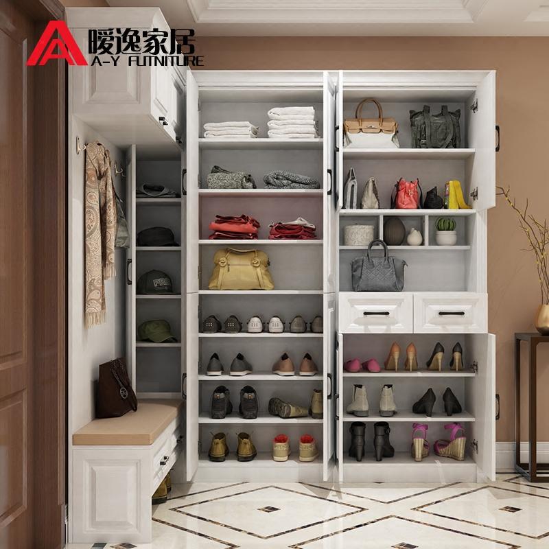 欧式组合简约现代鞋柜多功能衣帽柜门厅柜转角衣柜入户玄关柜定制