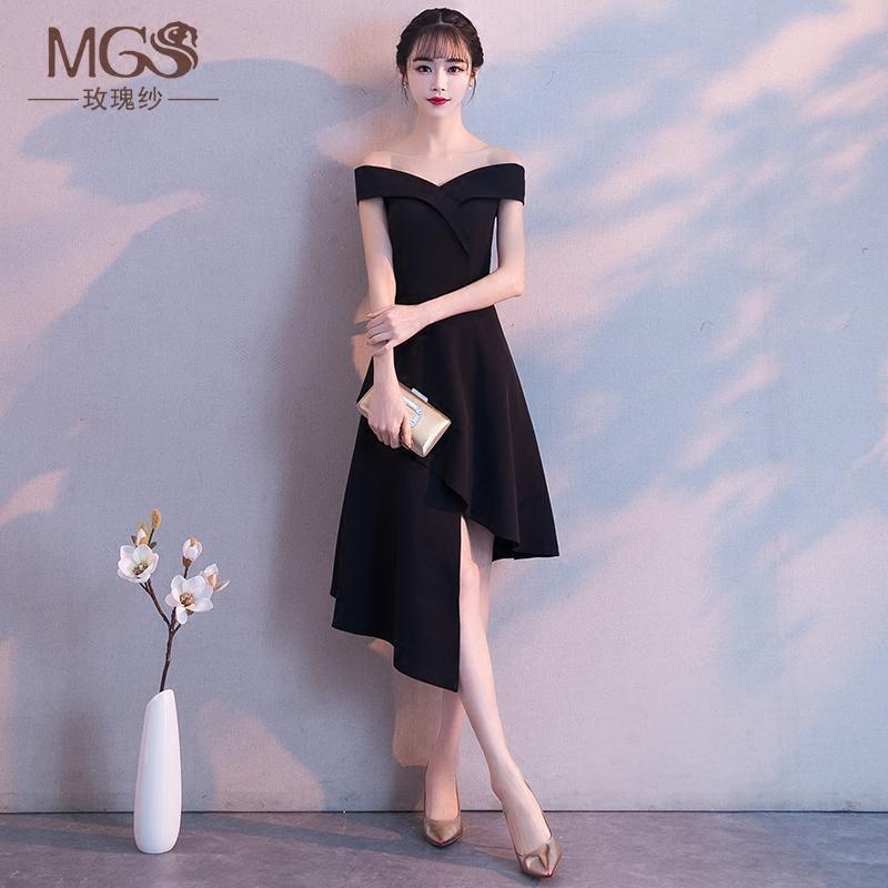 黑色小礼裙中长款