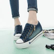 懒人鞋 女侧拉链运动 女内增高厚底女鞋 休闲板鞋 2018春季牛仔帆布鞋