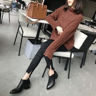 大王的靴玫瑰金断跟女鞋秋冬粗跟短靴