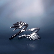 Swan's Ring of Rain and Ink's Sen's Original Design Pure Silver Ring Couple Ring