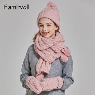 可爱针织毛线三件套圣诞生日礼物 围巾帽子手套一体女加厚加绒韩版