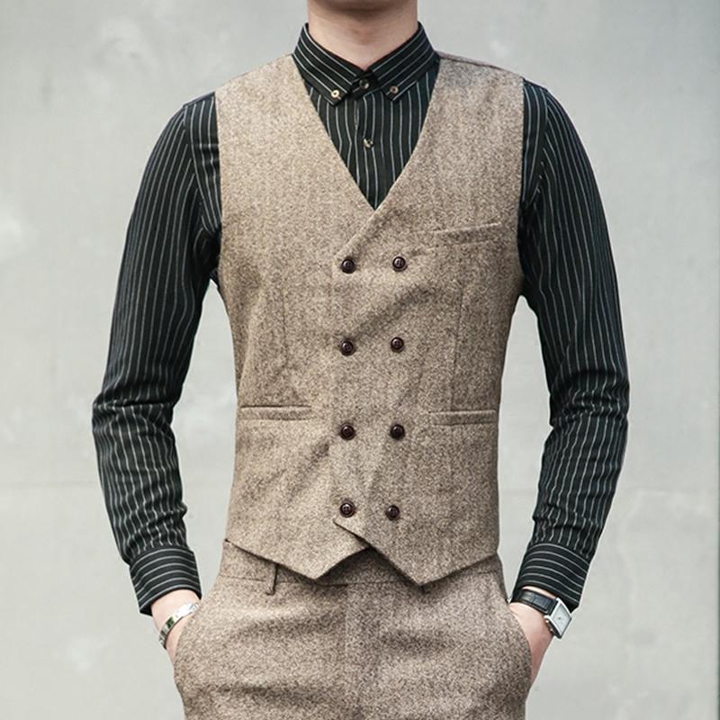 男士西装马甲套装男英伦风双排扣马夹背心裤子修身时尚商务正装男