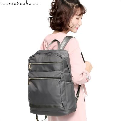 木独猪大容双拉链电脑背包休闲旅行防水双肩潮包学生书包女大容量