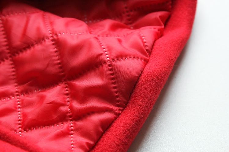 韩版中国红冬款女童呢子加厚大衣儿童宝宝毛领中长款毛呢外套洋气