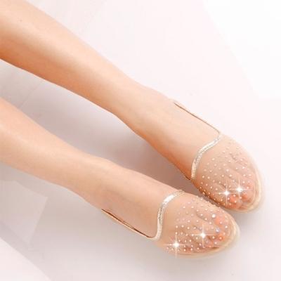 凉鞋女夏季新款百搭学生水钻透明网纱单鞋软底豆豆鞋透气平底鞋子