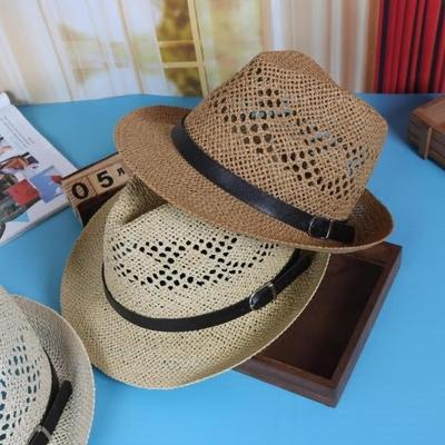 夏天皮扣草帽韩版遮阳帽子英伦男女士镂空太阳小礼帽防晒沙滩帽潮