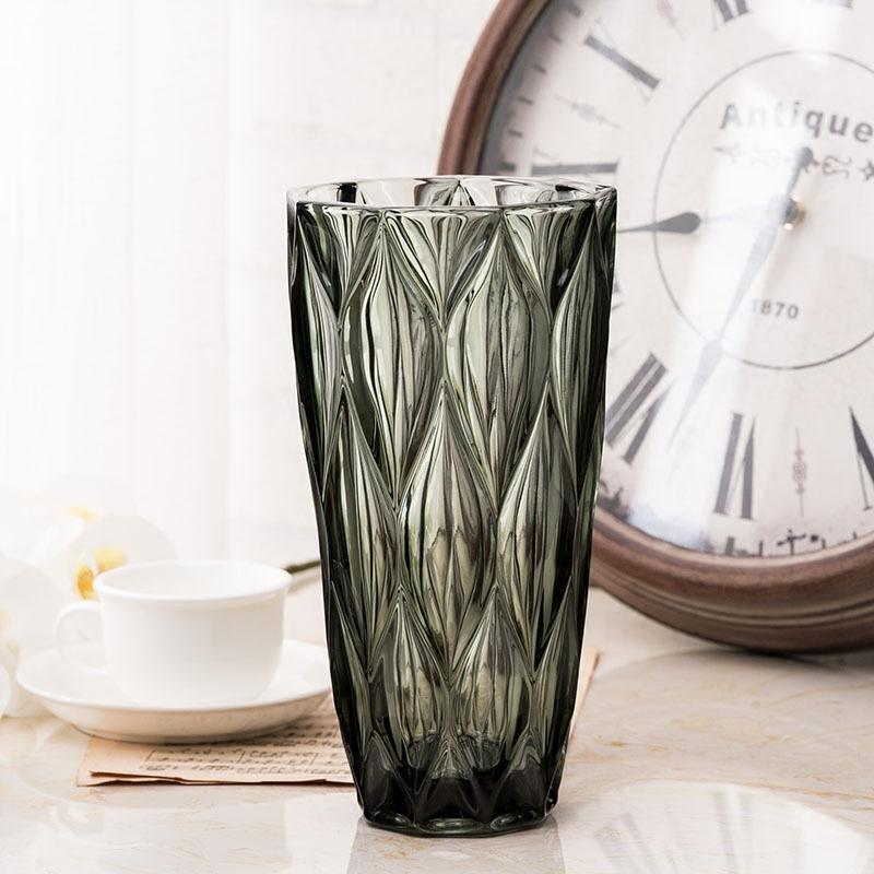 輕奢美式玻璃花瓶 創意插花花器現代客廳裝飾擺件 干花裝飾大花瓶