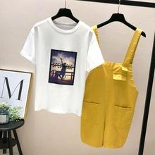 韩版 勾勾背带短裤 小心机俏皮套装 女时尚 夏季套装 两件套2018新款图片