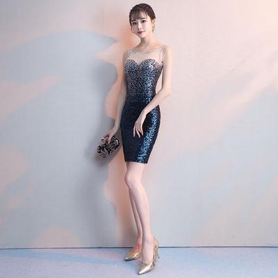 晚礼服女2018新款宴会高贵优雅短款性感修身名媛主持人晚宴小礼服