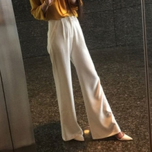 2009 Customized Summer and Autumn New Floor-trailing White High-waist Broad-legged Pants Women's Korean Version Loose Slacker Leisure Pants