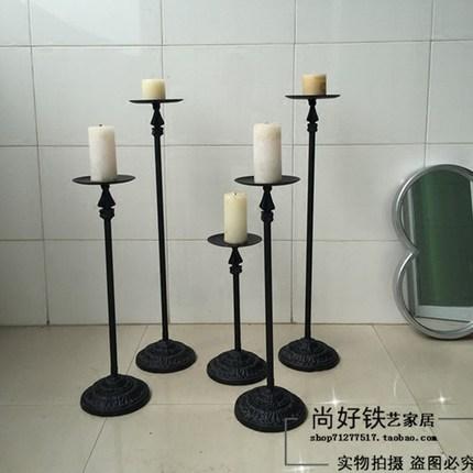 复古做旧铁艺烛台落地式烛台时尚简约婚庆烛台影楼创意摆件烛台