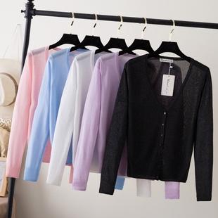 2017新款夏季长袖冰丝上衣小外搭薄款短款空调衫防晒针织衫女开衫