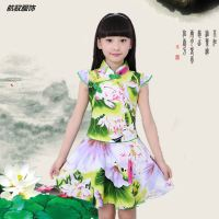 Children 19 years summer new small girls cotton cheongsam Tang dress children's guzheng costumes big children