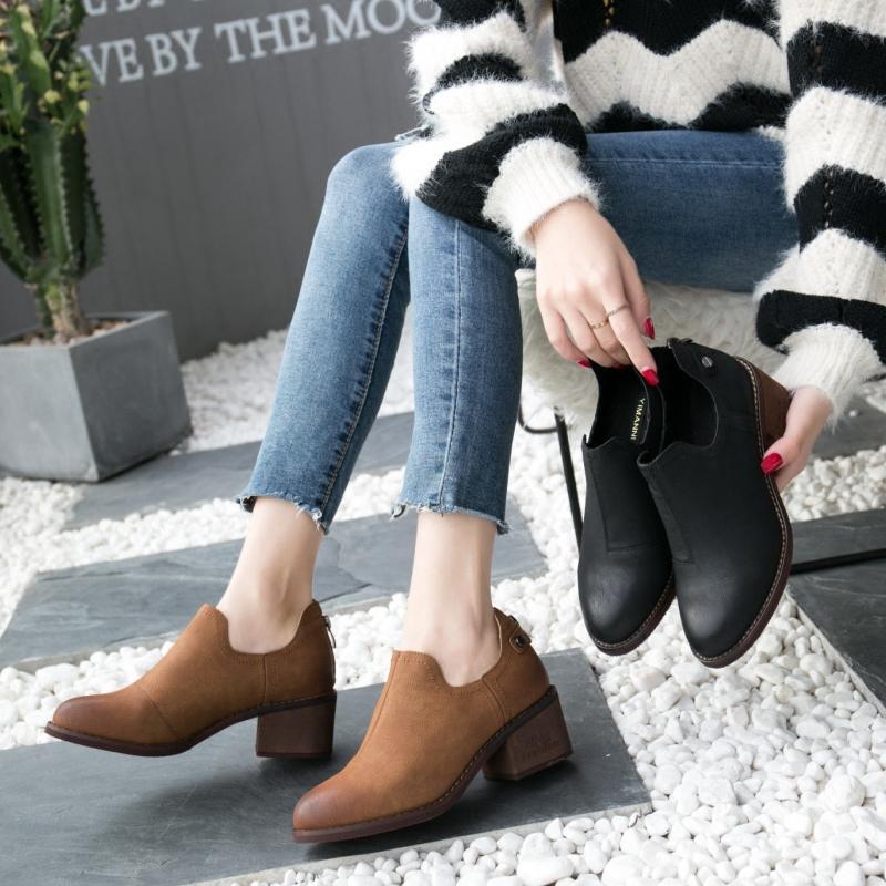 秋季新款女鞋粗跟中跟休闲鞋英伦风圆头深口鞋低跟单鞋2017壹漫妮