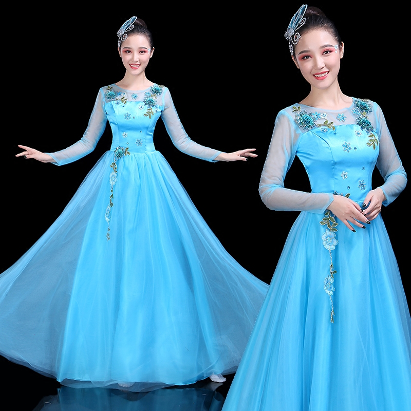 Modern Dance Costume Adult New Youth Song Dance Dance Swing Skirt China Wind Cantata