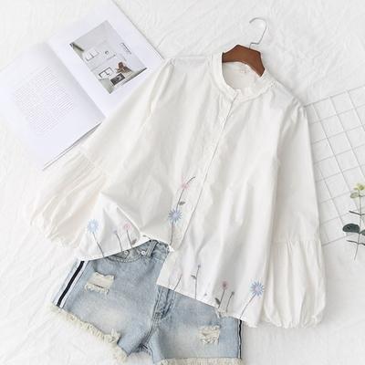春秋款森女日系小清新文艺灯笼袖白色纯棉立领娃娃衬衫女宽松上衣