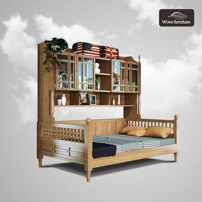 橡木全实木英伦田园地中海风格多功能双层床带储物柜衣柜书架床双十二