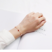 Bracelet, female, Korean Edition, sterling silver, simple cold air, personality, red agate, rose gold, clover, birthday gift.