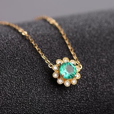 韩蒂妮天然彩色宝石吊坠祖母绿锁骨链女士项链18K金镶嵌定制