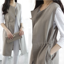 Summer Korean version of flax waistcoat women's thin medium and long horse clips show thin, shoulder-strapped, loose cardigan with waistcoat