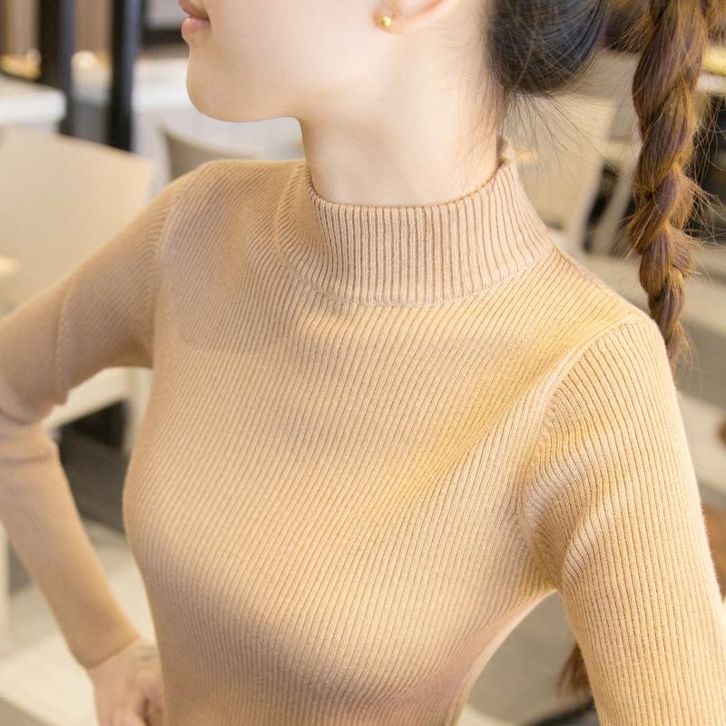 冬半高领毛衣短款红