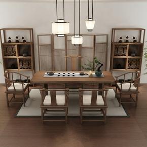 中式茶桌椅组合简约现代茶艺桌实木茶桌茶台功夫茶几办公喝茶桌椅
