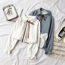 Blouse Female Autumn 2018 New Type Baitie Student's Westernized Top with Cashmere White Fashion Long Sleeve Warm Winter Shirt Tide
