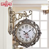 Lisheng European double-sided wall clock living room mute two sides hanging table creative clock garden modern minimalist household clocks