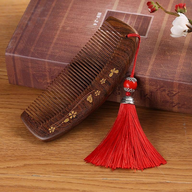 Smart comb Pavilion sandalwood comb Household curling comb Massage comb Antistatic sandalwood cute comb hair loss long hair comb
