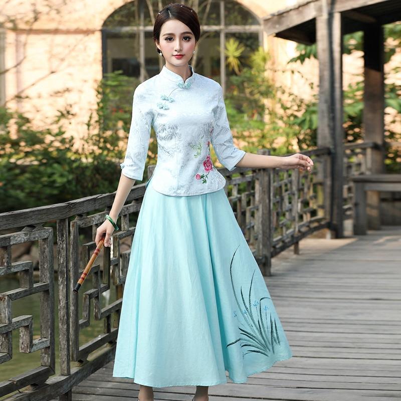 旗袍秋装日常改良