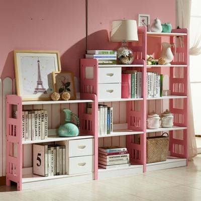 全實木粉色書架松木書柜簡易兒童白色書架藍色置物架自由組合書櫥在哪買