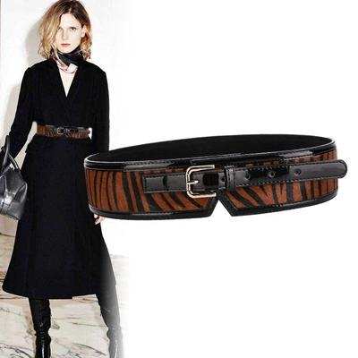 时尚大衣腰封女装饰连衣裙马毛设计简约百搭宽腰带新款欧美风皮带