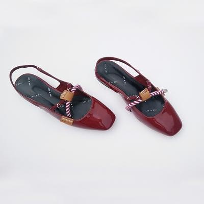 2018新款凉鞋女夏包头单鞋平跟甜美风绳结装饰可爱玛丽珍低跟凉鞋