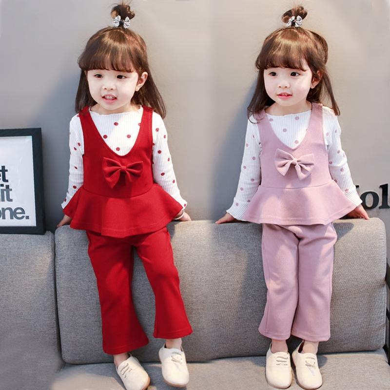 2018新款女童0洋气1女宝宝2衣服3岁韩版春装套装时尚春秋婴儿童潮