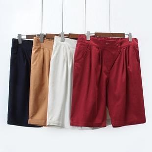 18夏装新款加大码女装200斤韩版宽松松紧腰五分裤胖MM显瘦休闲裤