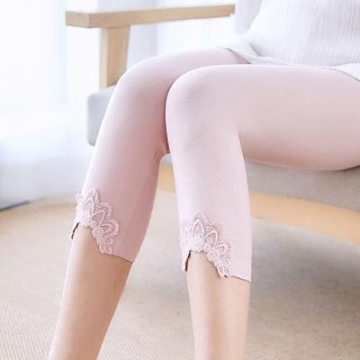 莫代尔七分打底裤女薄款2018夏季蕾丝边外穿七分裤高腰弹力紧身裤