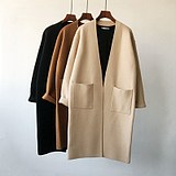 Korean version Square pocket long sweater cardigan temperament slim loose solid color knitted jacket female thick