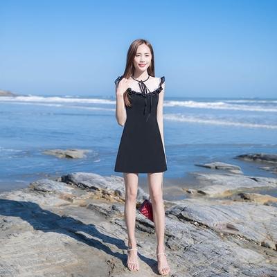 2018夏季新款女装修身显瘦气质雪纺拼接裙子网纱荷叶边系带连衣裙