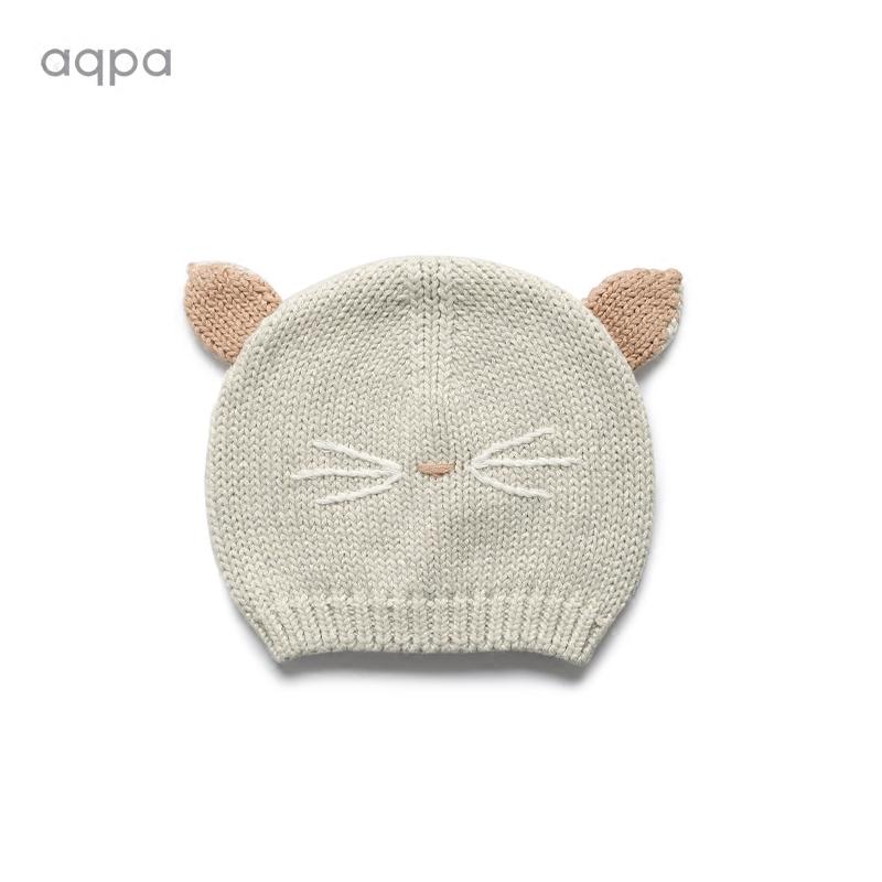 aqpa男女宝宝外出帽小猫棉针织帽0-3-6个月保暖纯棉胎帽