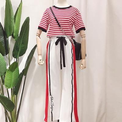2018夏装新款韩版ins条纹短袖T恤系带裤脚开叉休闲长裤运动套装女