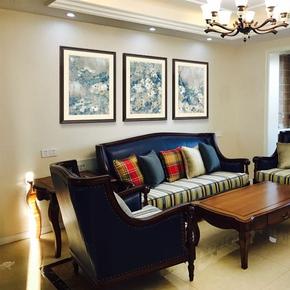 卡农 美式客厅装饰画 样品房挂画双层卡纸设计 实木框抽象壁画