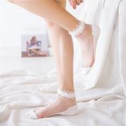 日系蕾丝花边短袜子复古公主袜女超薄款透明水晶白色丝袜棉底船袜