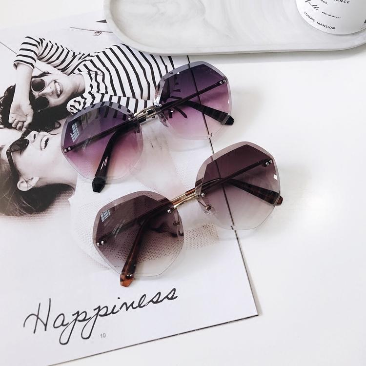 网红2018新款圆形墨镜女韩版无框水晶切边时尚气质防紫外线太阳镜