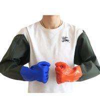 Waterproof gloves long thick non-slip wear-resistant digging 藕 aquatic catching fish industry acid and alkali plus velvet rubber gloves
