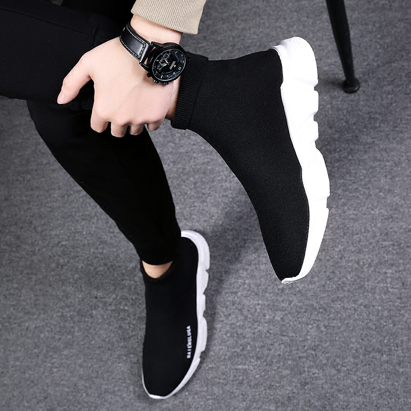 男鞋春季弹力袜子鞋男高帮运动休闲鞋男韩版潮流袜鞋高邦板鞋潮鞋图片