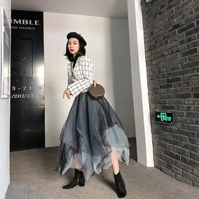 春夏款暗黑重工 打褶皱拼接11层渐变不规则蓬蓬纱裙半身裙A字显瘦