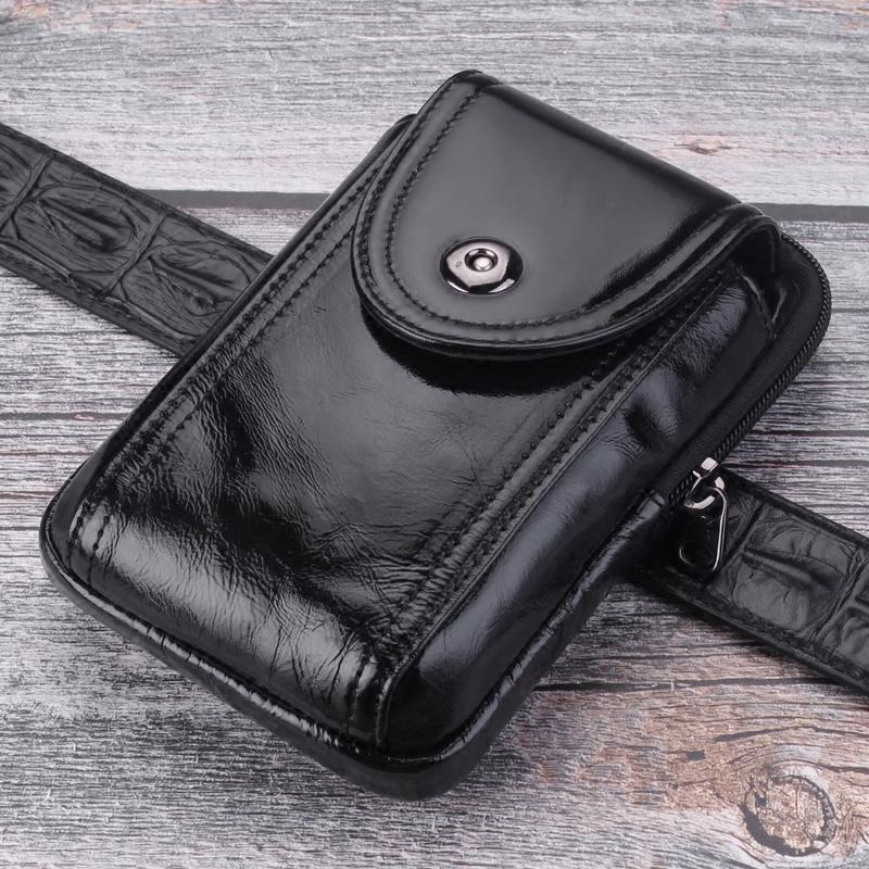 头层牛皮手机腰包男真皮竖款手机包大容量穿皮带腰包拉链小包轻便